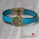 "ARMBAND* ""TREE OF LIFE"" LEDER in ""petrol"" mit Lebensbaum"