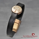 "ARMBAND* ""TREE OF LIFE"" breites LEDER in ""nearlyblack"" mit Lebensbaum in roségold"