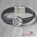 "ARMBAND* ""TREE OF LIFE"" gekreuztes LEDER in ""anthrazit"" mit Lebensbaum"