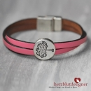 "ARMBAND* ""TREE OF LIFE"" gekreuztes LEDER in ""softpink"" mit Lebensbaum"