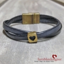 "ARMBAND* ""LOVELI"" gekreuztes LEDER in anthrazit mit HERZ in bronze"
