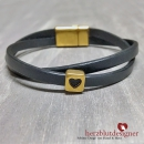 "ARMBAND* ""LOVELI"" gekreuztes LEDER in anthrazit mit HERZ in gold"