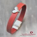 "ARMBAND* ""LOVELI"" LEDER in washed koralle mit HERZ"