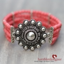 "ARMBAND* ""ROSETTA"" filigranes Silber-Ornament mit Perlen in flamingopink"